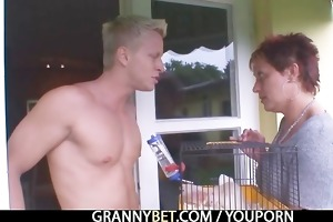 granny rides neighbours large ramrod
