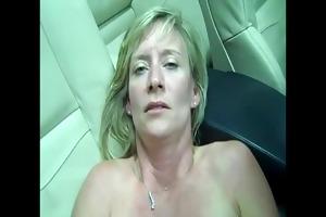 aged floozy is talking impure (in car)