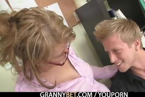 office woman enjoys riding his meat