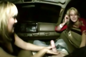 mom and offspring give tugjob in a car