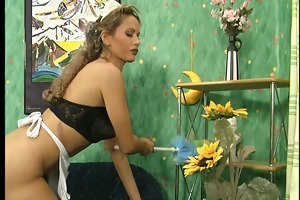 erotic maid cleans his wang