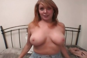 boobed golden-haired non-professional try-out