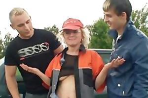old slut is double screwed outdoors