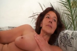 old slut receives banged by two young painters