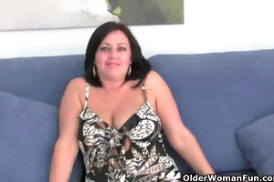 breasty aged mommy in white panties and pantyhose