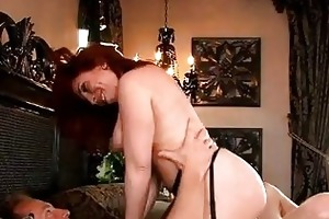 breasty redhead milf in nylons acquires rammed