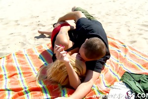 hot pair have sex on the beach