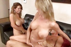sex crazed milfs with large wobblers have ffm some