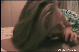 chubby blondy blows pounder
