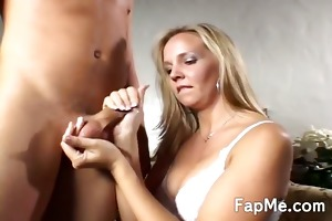 curvy blond massaging a cock