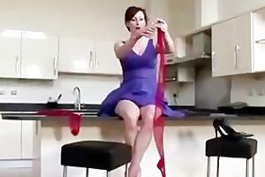 spruce aged lady in high heels dressing