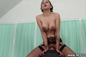 brunette hair rides fucking machine