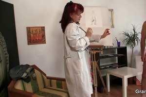 gorgeous lady loves painting and his ramrod