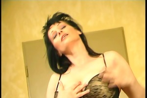 brunette hair gyrating to her own tune