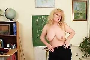 well-endowed wifey teacher fucks herself plus a