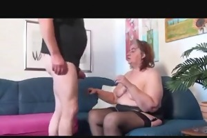old big beautiful woman plays with old chap
