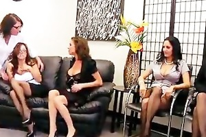 4 sexy milfs fight for 1 penis