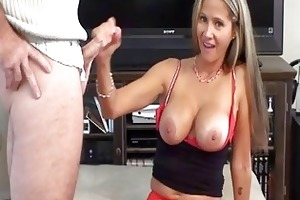 whorish golden-haired mother i in red nylons does