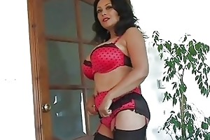 enormous chested darksome haired mother i in