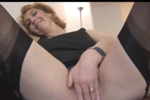 older english golden-haired chick in nylons