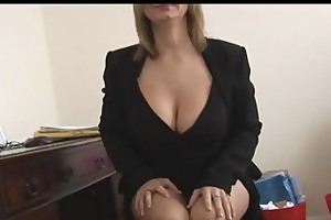 breasty older golden-haired secretary disrobes