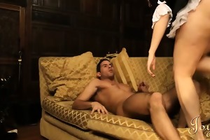 lovely maid ridding her pleasing breasty butt on