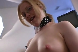 non-professional wife in glasses jerking knob 4