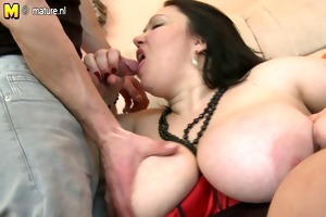 large older mother drilled by her juvenile chap