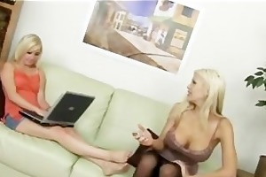 a pair of blondes have a fun fortunate knob