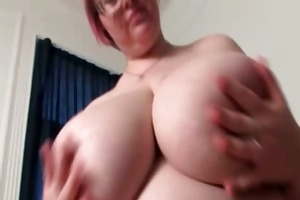 hot breasty aged woman plays with her