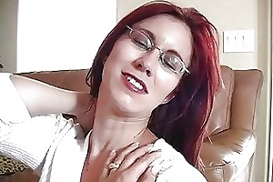 enormous chested redhead momma with glasses gives